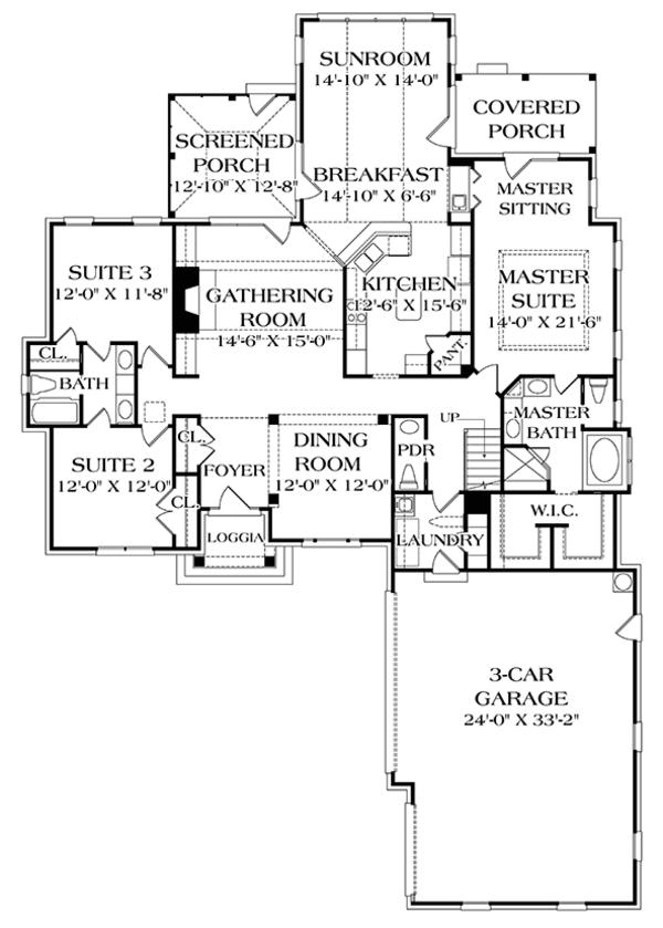 Traditional Floor Plan - Main Floor Plan Plan #453-622