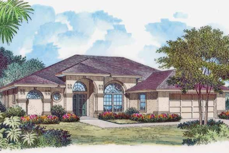 Mediterranean Exterior - Front Elevation Plan #417-768