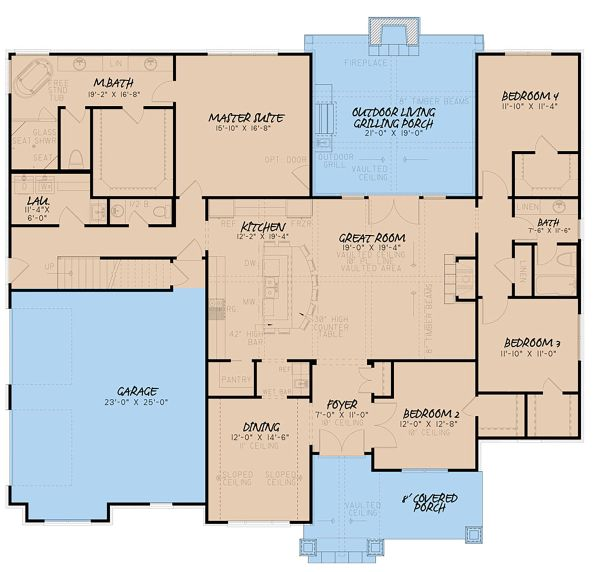 Craftsman Floor Plan - Main Floor Plan Plan #923-148