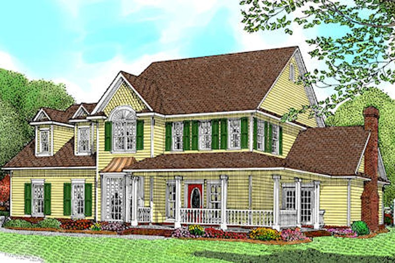 Farmhouse Style House Plan - 4 Beds 5 Baths 2795 Sq/Ft Plan #11-205 Exterior - Front Elevation