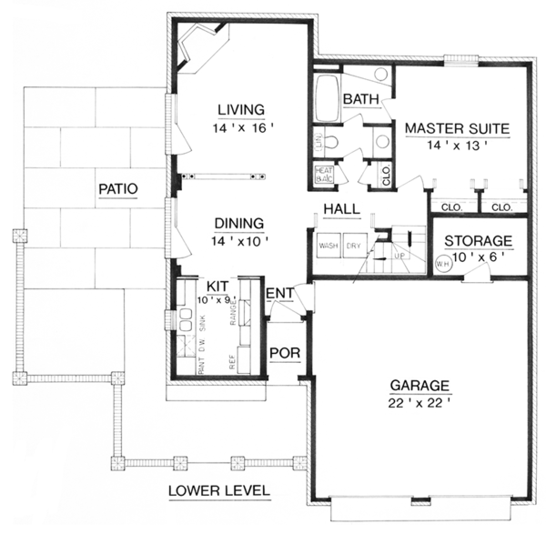 Traditional Floor Plan - Main Floor Plan Plan #45-565