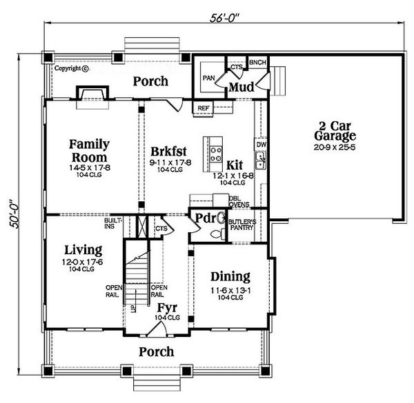 Bungalow Floor Plan - Main Floor Plan Plan #419-298