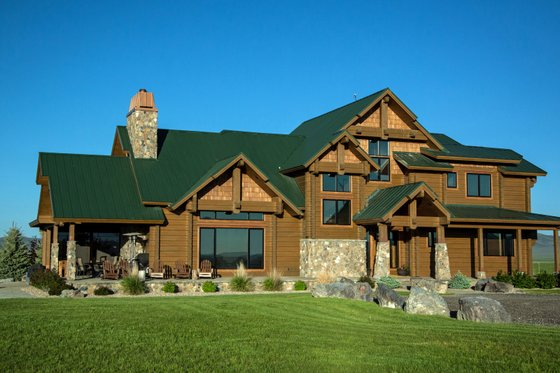 Log Exterior - Front Elevation Plan #451-28
