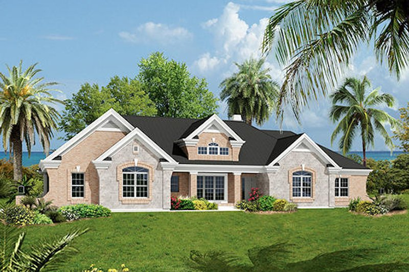 Mediterranean Style House Plan - 3 Beds 2.5 Baths 2614 Sq/Ft Plan #57-279 Exterior - Front Elevation