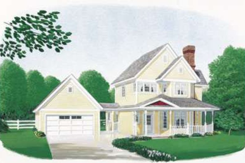 Country Style House Plan - 3 Beds 2.5 Baths 1682 Sq/Ft Plan #410-114 Exterior - Front Elevation