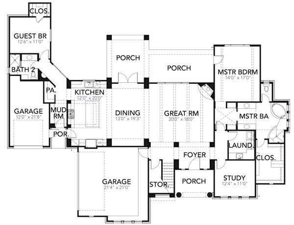 Mediterranean Floor Plan - Main Floor Plan Plan #80-221