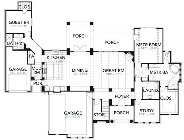 Mediterranean Floor Plan - Main Floor Plan Plan #80-221