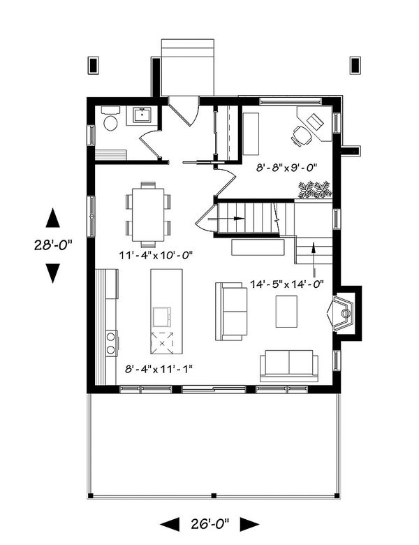 Contemporary Style House Plan - 2 Beds 1 Baths 1344 Sq/Ft Plan #23-2660 Floor Plan - Main Floor Plan