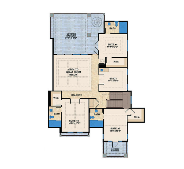 Mediterranean Floor Plan - Upper Floor Plan Plan #548-14