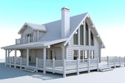 Log Style House Plan - 2 Beds 2 Baths 1394 Sq/Ft Plan #451-11 Exterior - Front Elevation