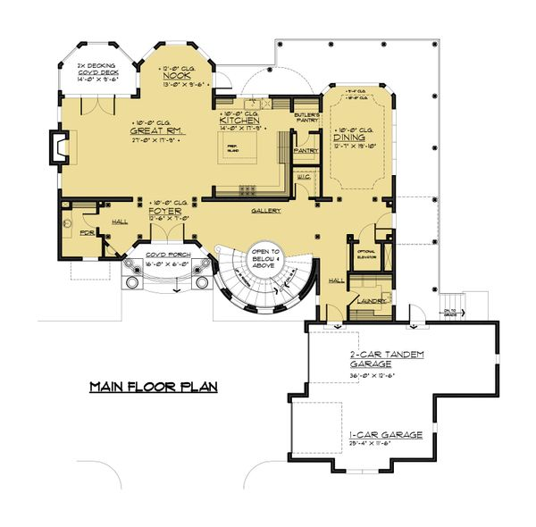 Victorian Style House Plan - 5 Beds 4 Baths 6720 Sq/Ft Plan #1066-55 Floor Plan - Main Floor Plan