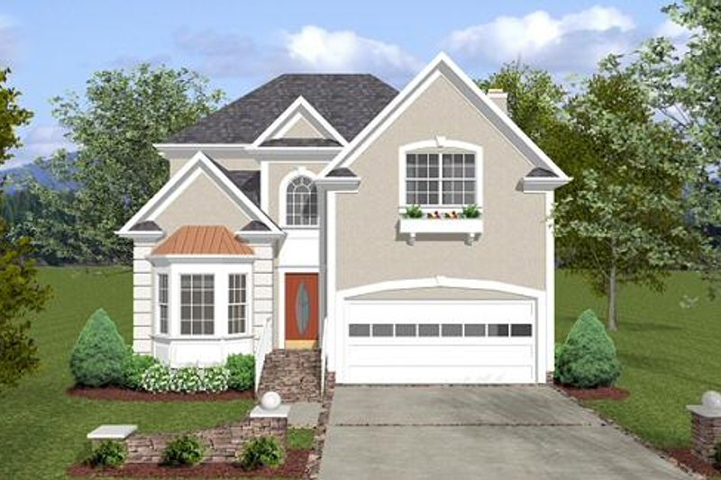 Architectural House Design - European Exterior - Front Elevation Plan #56-556