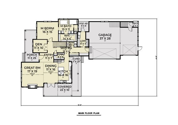 Dream House Plan - Farmhouse Floor Plan - Main Floor Plan #1070-132