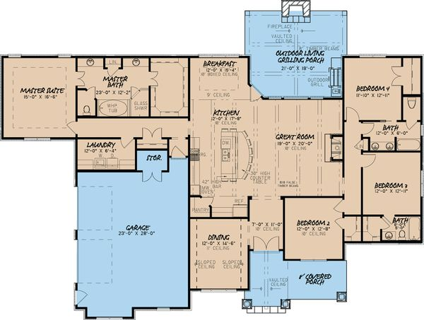 European Floor Plan - Main Floor Plan Plan #923-19