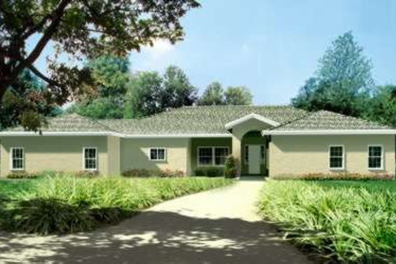 Adobe / Southwestern Style House Plan - 3 Beds 2.5 Baths 2596 Sq/Ft Plan #1-624 Exterior - Front Elevation
