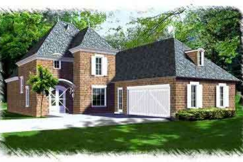 European Style House Plan - 4 Beds 3 Baths 2651 Sq/Ft Plan #15-287 Exterior - Front Elevation