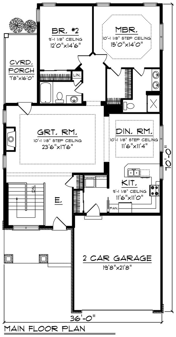 Craftsman Floor Plan - Main Floor Plan Plan #70-1238