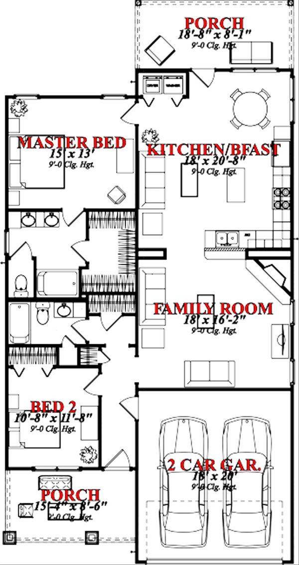 Bungalow Floor Plan - Main Floor Plan Plan #63-250