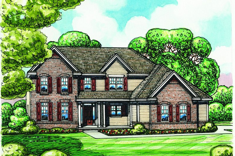 Traditional Exterior - Front Elevation Plan #20-2184 - Houseplans.com