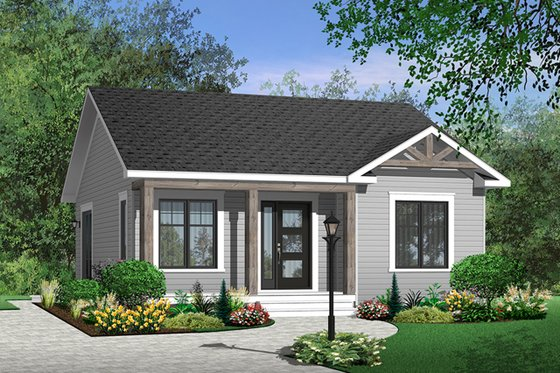 Cottage Exterior - Front Elevation Plan #23-2198