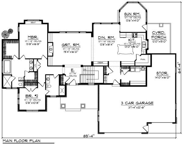 Ranch Floor Plan - Main Floor Plan Plan #70-1198