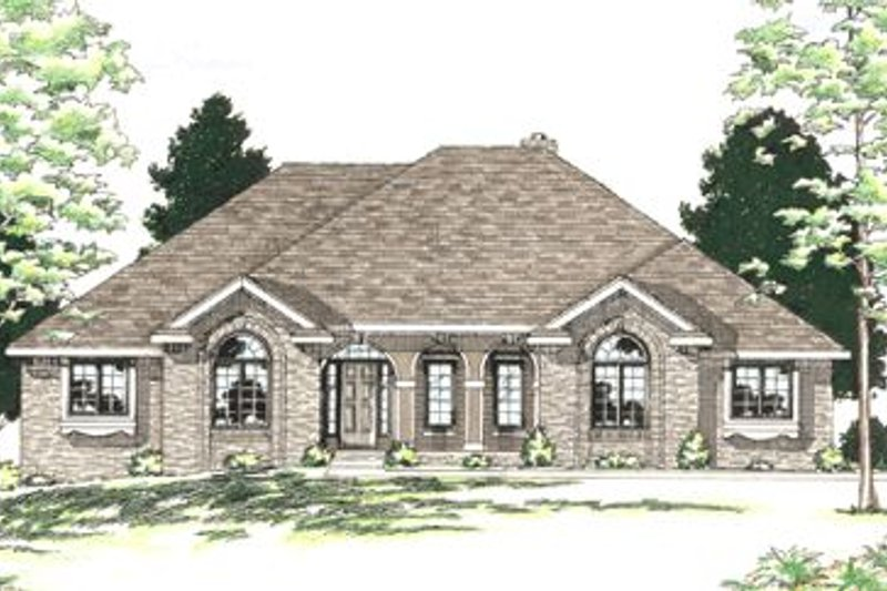 European Style House Plan - 3 Beds 2.5 Baths 2187 Sq/Ft Plan #20-751 Exterior - Front Elevation