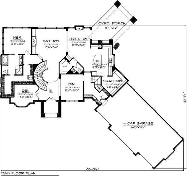 European Floor Plan - Main Floor Plan Plan #70-1109