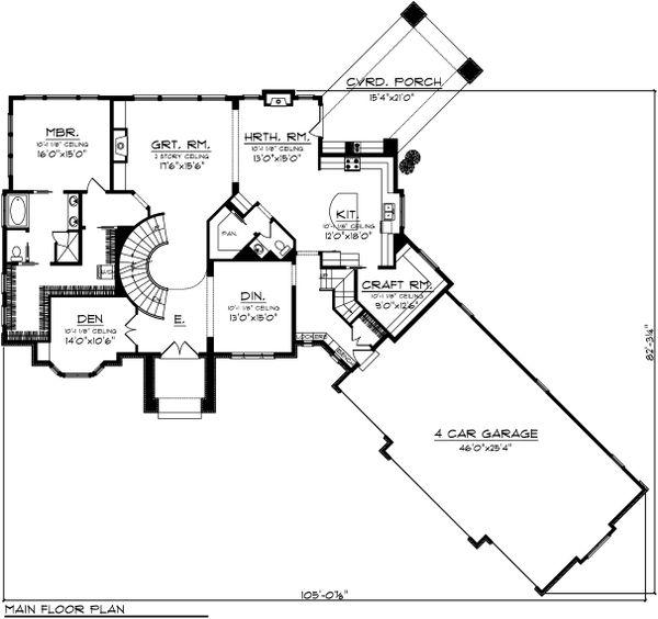 Dream House Plan - European Floor Plan - Main Floor Plan #70-1109