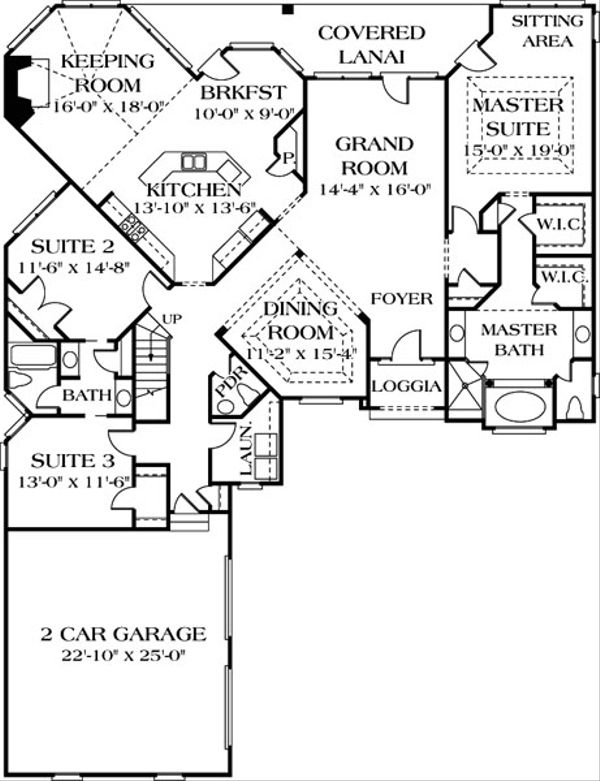 Traditional Floor Plan - Main Floor Plan Plan #453-31