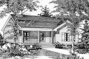 Country Style House Plan - 2 Beds 2 Baths 1010 Sq/Ft Plan #329-146 Exterior - Front Elevation