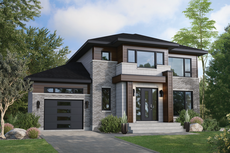 Contemporary Style House Plan - 3 Beds 1.5 Baths 1666 Sq/Ft Plan #25-4891
