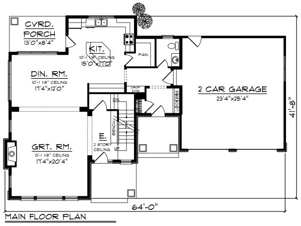Craftsman Floor Plan - Main Floor Plan Plan #70-1276