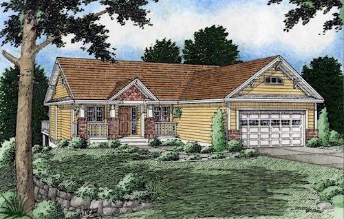 Ranch Exterior - Front Elevation Plan #126-139 - Houseplans.com