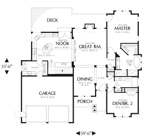 Craftsman Floor Plan - Main Floor Plan Plan #48-601