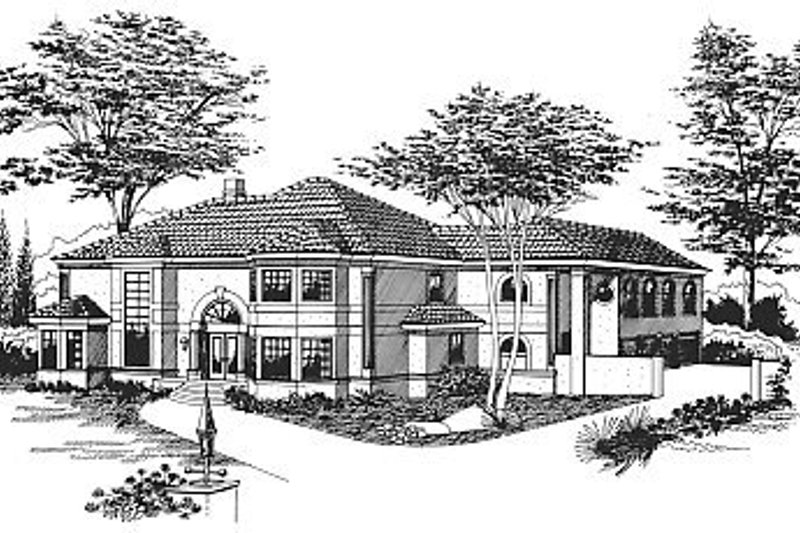 Mediterranean Style House Plan - 5 Beds 4 Baths 6209 Sq/Ft Plan #15-240 Exterior - Front Elevation