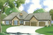 European Style House Plan - 4 Beds 2 Baths 1901 Sq/Ft Plan #923-56 Exterior - Front Elevation