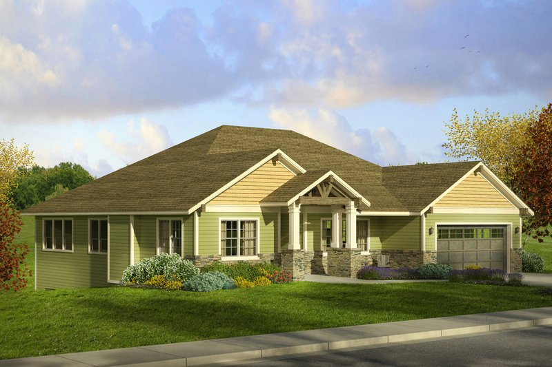 Craftsman Style House Plan - 3 Beds 2.5 Baths 2520 Sq/Ft Plan #124-1002 Exterior - Front Elevation
