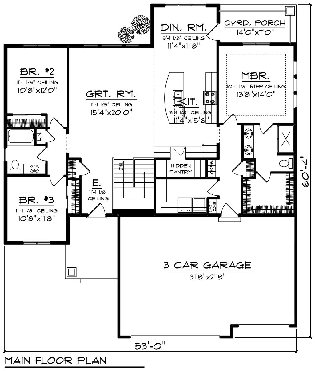 Floor House Plan With Kitchen Behind Garage