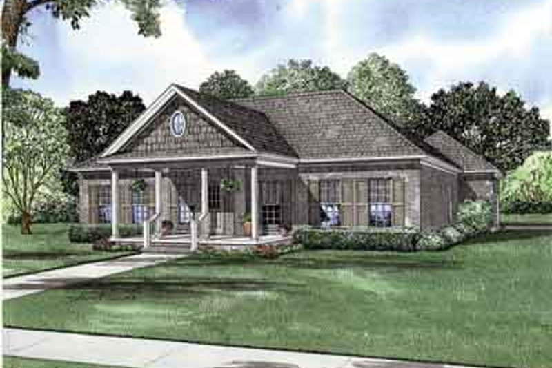 Southern Style House Plan - 3 Beds 2 Baths 1689 Sq/Ft Plan #17-2156 Exterior - Front Elevation