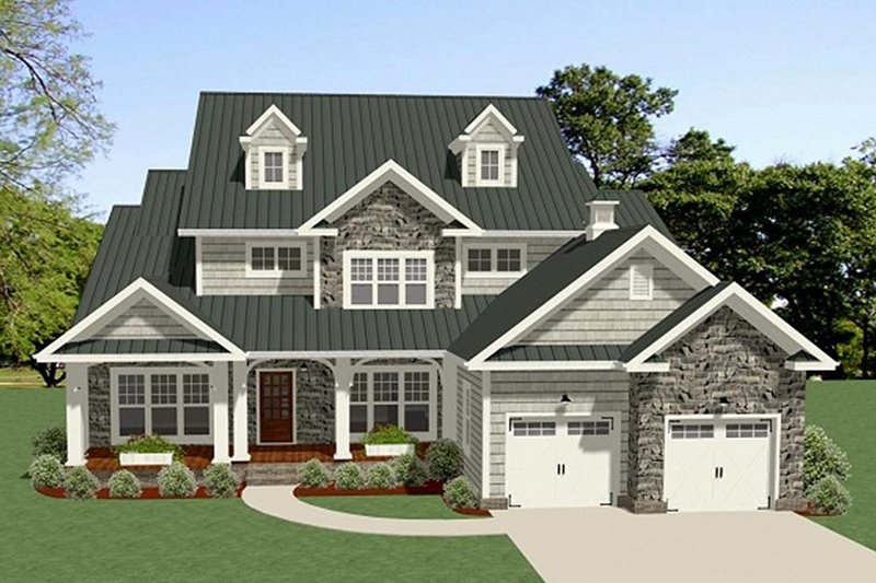 Country Style House Plan - 4 Beds 4.5 Baths 3001 Sq/Ft Plan #898-47 Exterior - Front Elevation
