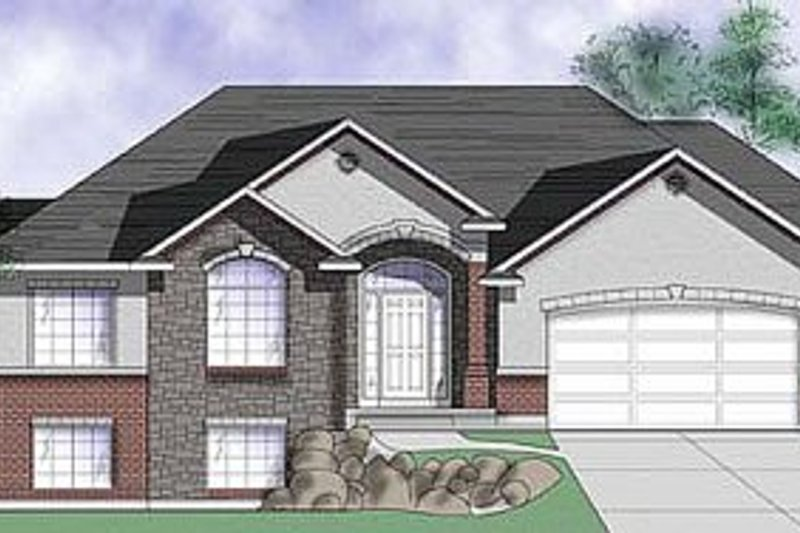 Traditional Style House Plan - 3 Beds 2.5 Baths 1673 Sq/Ft Plan #5-117 Exterior - Front Elevation