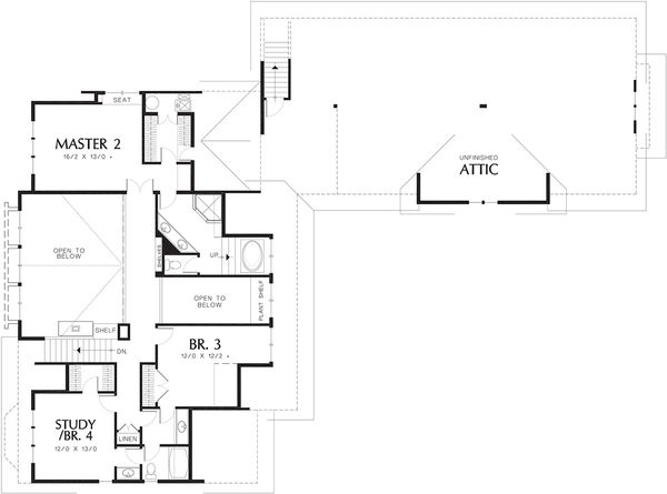 Craftsman Floor Plan - Upper Floor Plan Plan #48-148