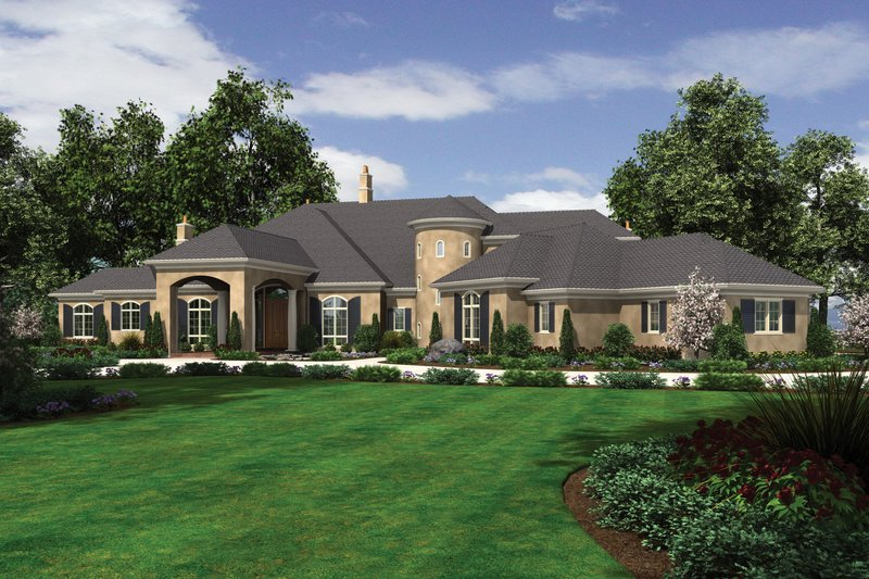 European Style House Plan - 8 Beds 6.5 Baths 9787 Sq/Ft Plan #48-624 Exterior - Front Elevation