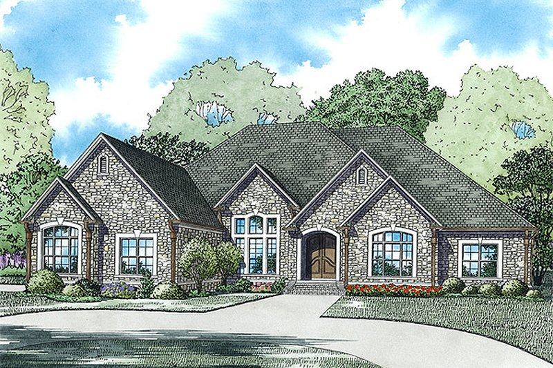 European Style House Plan - 4 Beds 4 Baths 3766 Sq/Ft Plan #17-2477 Exterior - Front Elevation