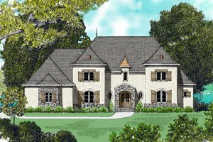 European Exterior - Front Elevation Plan #413-817