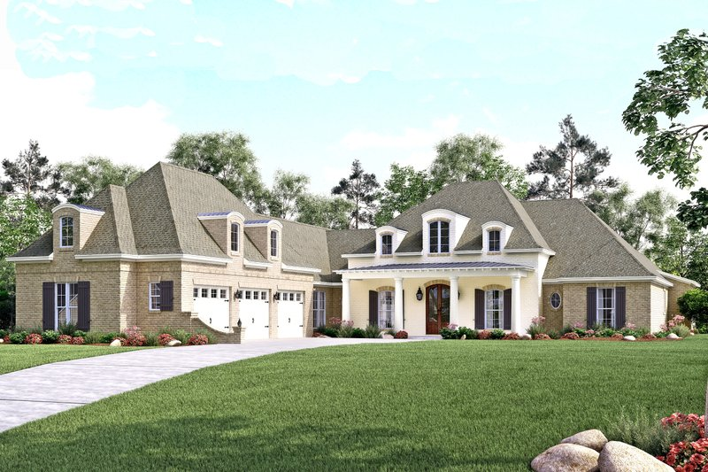 European Style House Plan - 4 Beds 4.5 Baths 3360 Sq/Ft Plan #430-126 Exterior - Front Elevation
