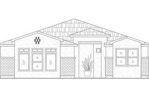 Adobe / Southwestern Exterior - Front Elevation Plan #24-210