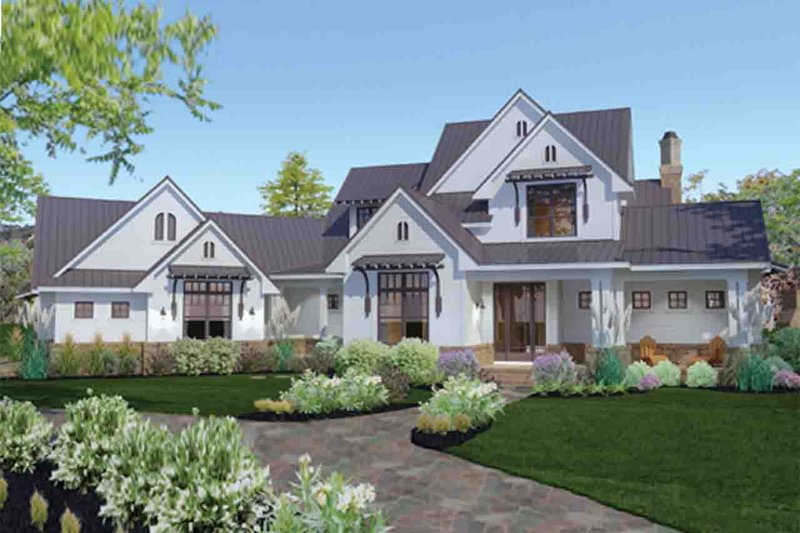 Farmhouse Exterior - Front Elevation Plan #120-195 - Houseplans.com