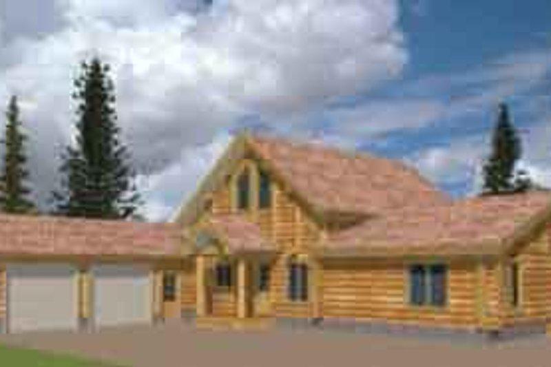 Dream House Plan - Log Exterior - Front Elevation Plan #117-112