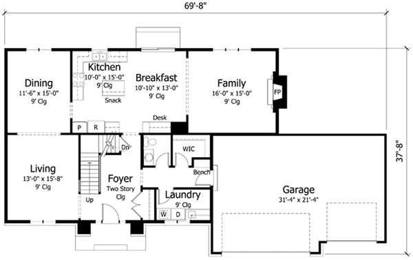 Traditional Floor Plan - Main Floor Plan Plan #51-389